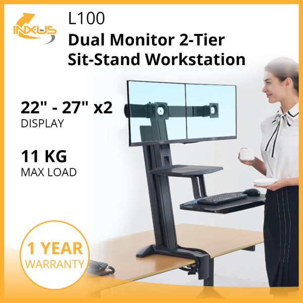 L100 Dual Monitor 2-Tier Sit-Stand Workstation / Adjustable Height / Dual Monitor Desk Mount / Keyboard Tray / International Vesa Compatible