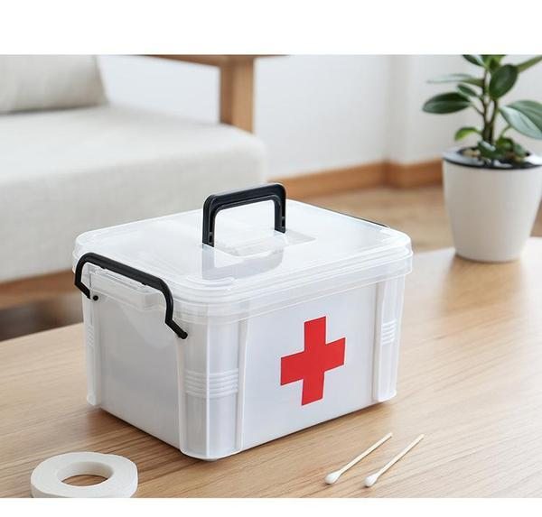 Basic First Aid Box with 2 Layer Compartment