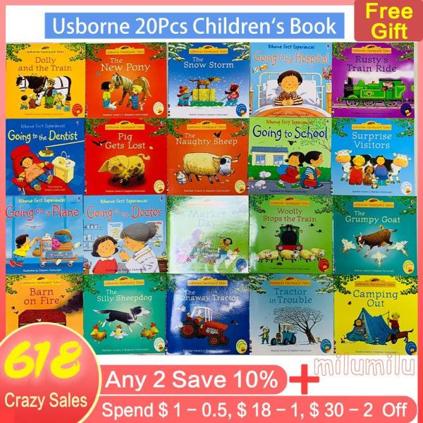Usborne 20 Books/Set Kids Story Picture Books Farmyard Tales Baby Famous English Book Educational Toys For Children Child Book