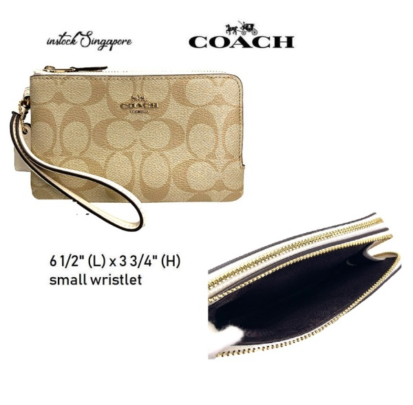 Authentic COACH Double Corner Zip Wristlet In Signature Canvas small size f87591 🚚FREE DELIVERY 2 W-DAY