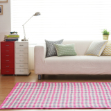 Top Rated Blmg Bibi Check Cotton Carpet Pink Free Delivery