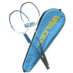 Brand New 【Blue】Badminton Rackets Great Buy Welcky 2 In 1 Authentic Carbon Fiber 2Pcs Badminton Rackets With Bag Gcb High Grade Aluminum Alloy Badminton Racket 2 Pieces 1 Set With String And Carrying Bag