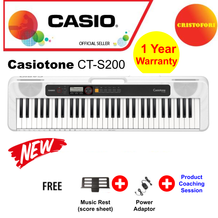 Casio Ct-S200 (white) New Generation Casiotone , Compact Portable Lightweight Casio Keyboard 61 Keys With Carry Handle, Optional Power By Batteries ( Cts200 / Cts 200 ).