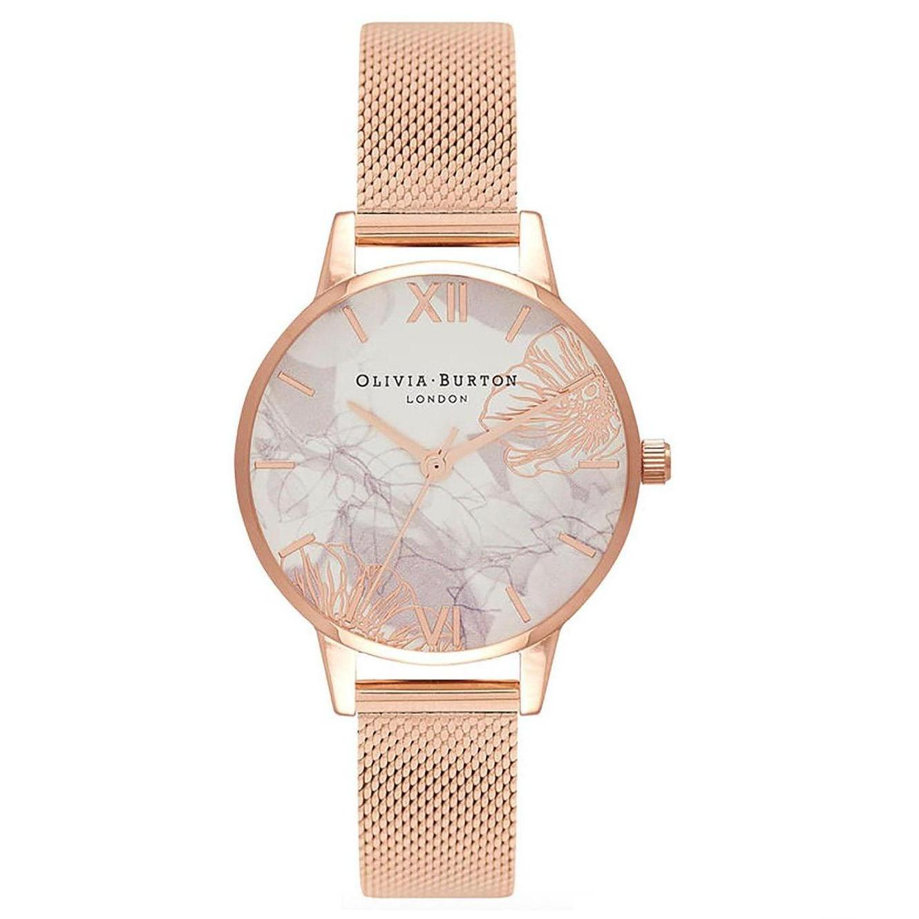 de046914dd64a Olivia Burton Abstract Florals White Dial 30mm Quartz Women s Roman  Numerals Mesh Rose Gold Stainless Steel