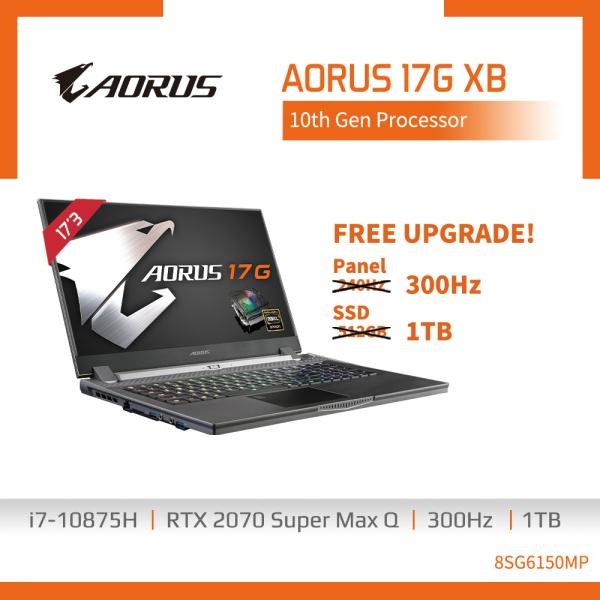 GIGABYTE AORUS 17G XB- 8SG6150MP ( i7-10875H/16GB DDR4 (8GBx2)/GeForce RTX 2070 8GB GDDR6/1TB PCIe SSD/17.3 FHD 300Hz 1920x1080 IPS/WIN10 PRO) [Ships 2-5 days]