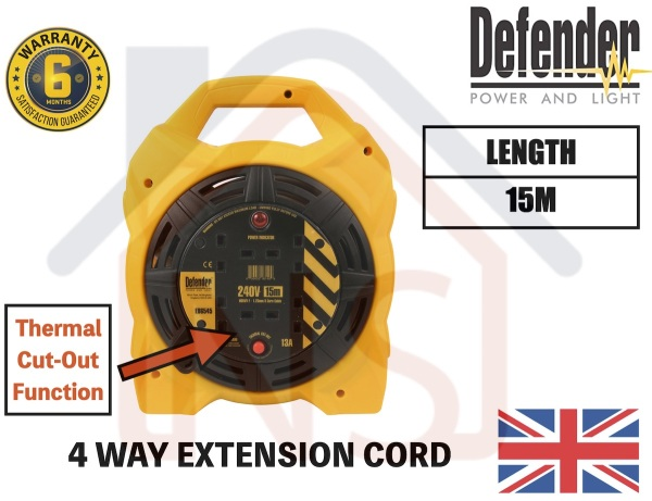 Defender 15m Industrial Cable Box Reel / Extension Cable / Cable Reel / Retracting Cable