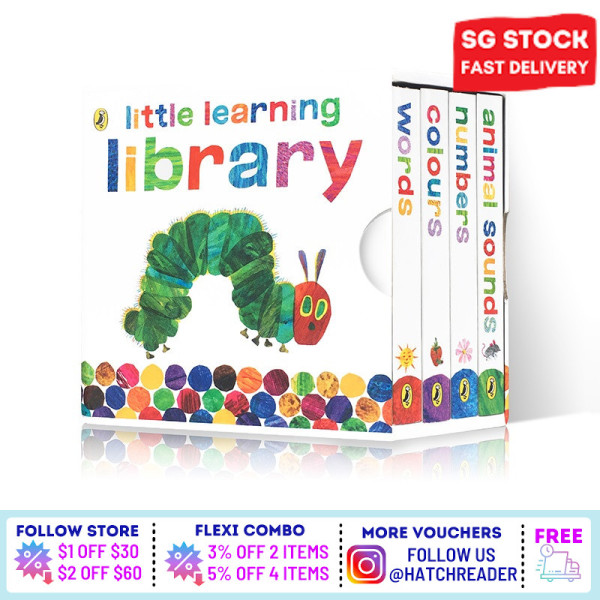 [In Stock Local] English  [4 books] The Very Hungry Caterpillar: Little Learning Library colors words numbers  learning book for baby kids children