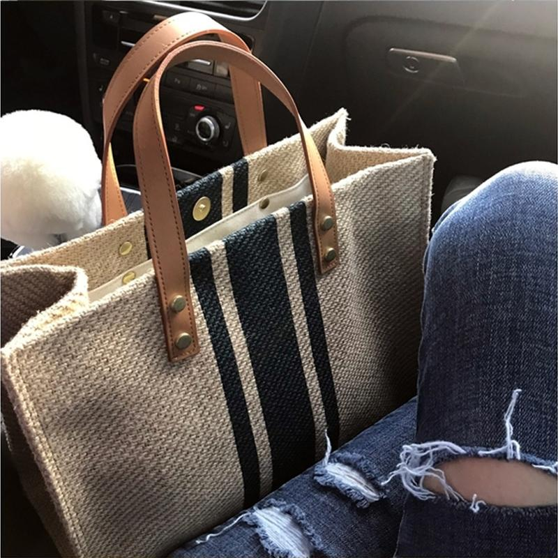 Korean Style Womens Portable Briefcase Commuting One-Shoulder Stripes Simple Canvas Large Capacity Package Shopping Bag Tote Bag