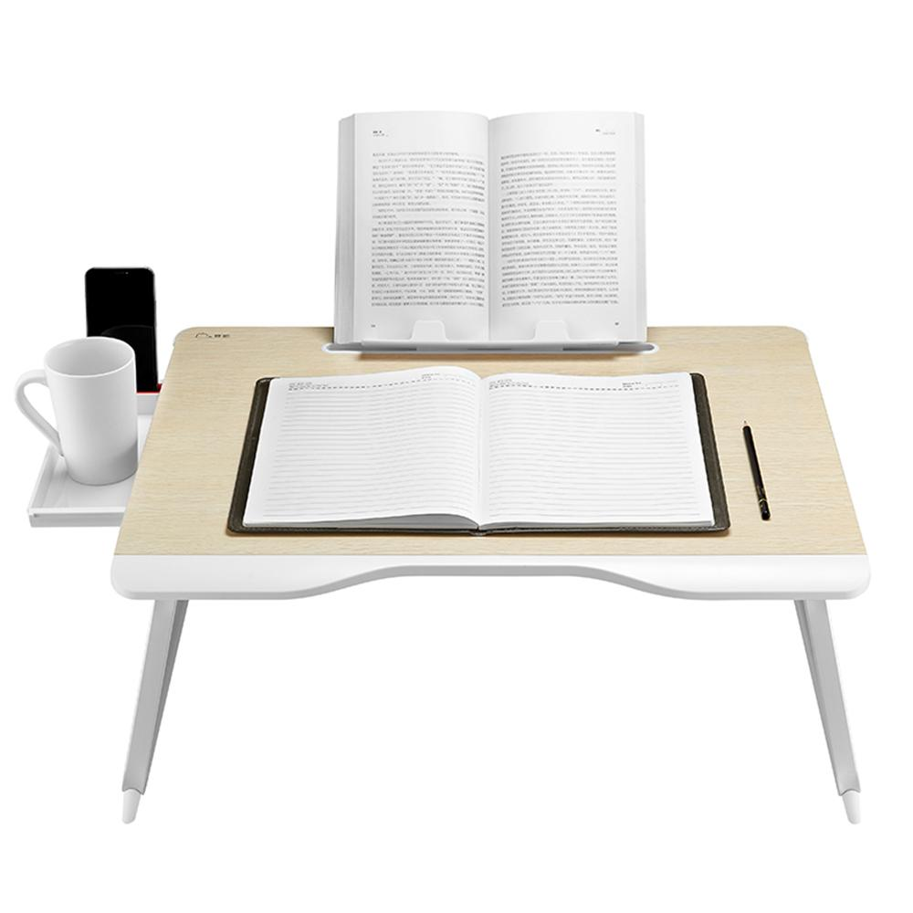 Laptop Bed Table Foldable Portable Laptop Stand with Aluminum Alloy Legs, Book Stand and Drawer for Reading, Writing, and Working