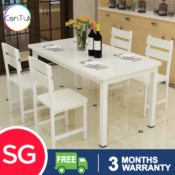 GJ Wooden Dining Table and Chairs set splash proof easy clean scandinavian modern stylish classy man woman family home owner living room HDB black white [Delivery Within 3 Weeks]