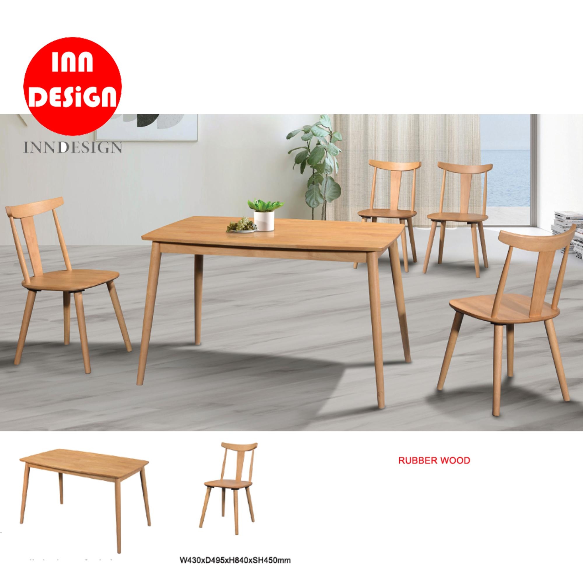 Jeyen 1+4 Dining Set (Solid Wood) (Free Delivery and Installation)