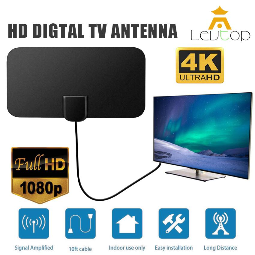 Levtop Indoor Digital Tv Antenna Amplified Hdtv Antenna 50 Miles Range High Gain Full Hd 4k 1080p Detachable Amplified Signal Booster With (3+1)m Cable Christmas Gift.