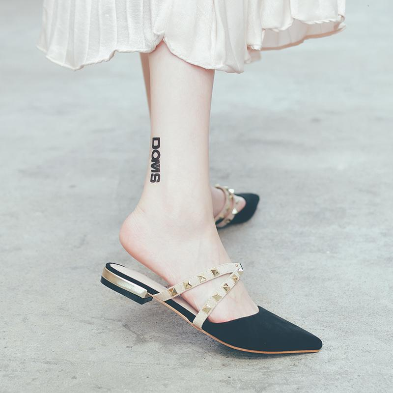 48f5bb7e29b18a Slipper Female Summer Outer Wear Fashion 2019 New Style Pointed Flat Rivet  Closed-toe Rome