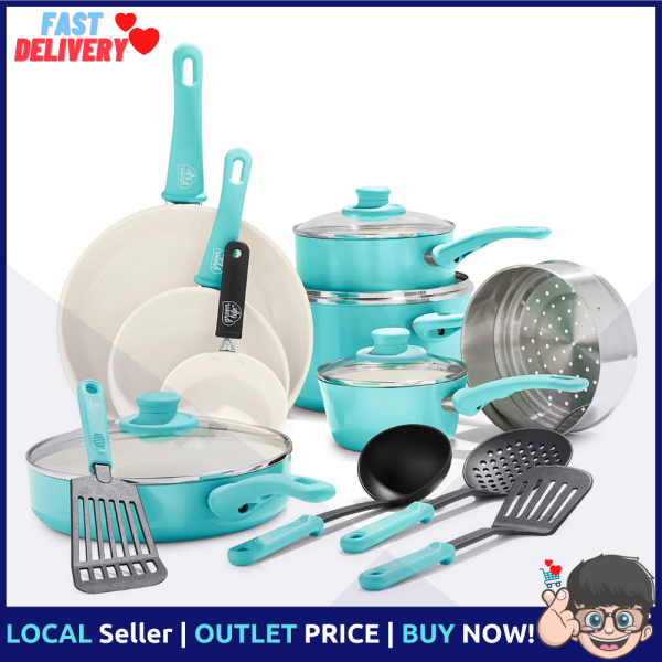 GreenLife Soft Grip 16pc Ceramic Non-Stick Cookware Set, Turquoise Singapore