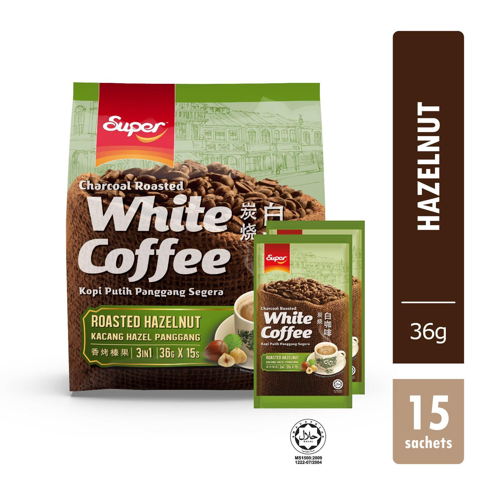 SUPER Instant White Coffee Charcoal Roasted 3-In-1 Hazelnut 15sX36g
