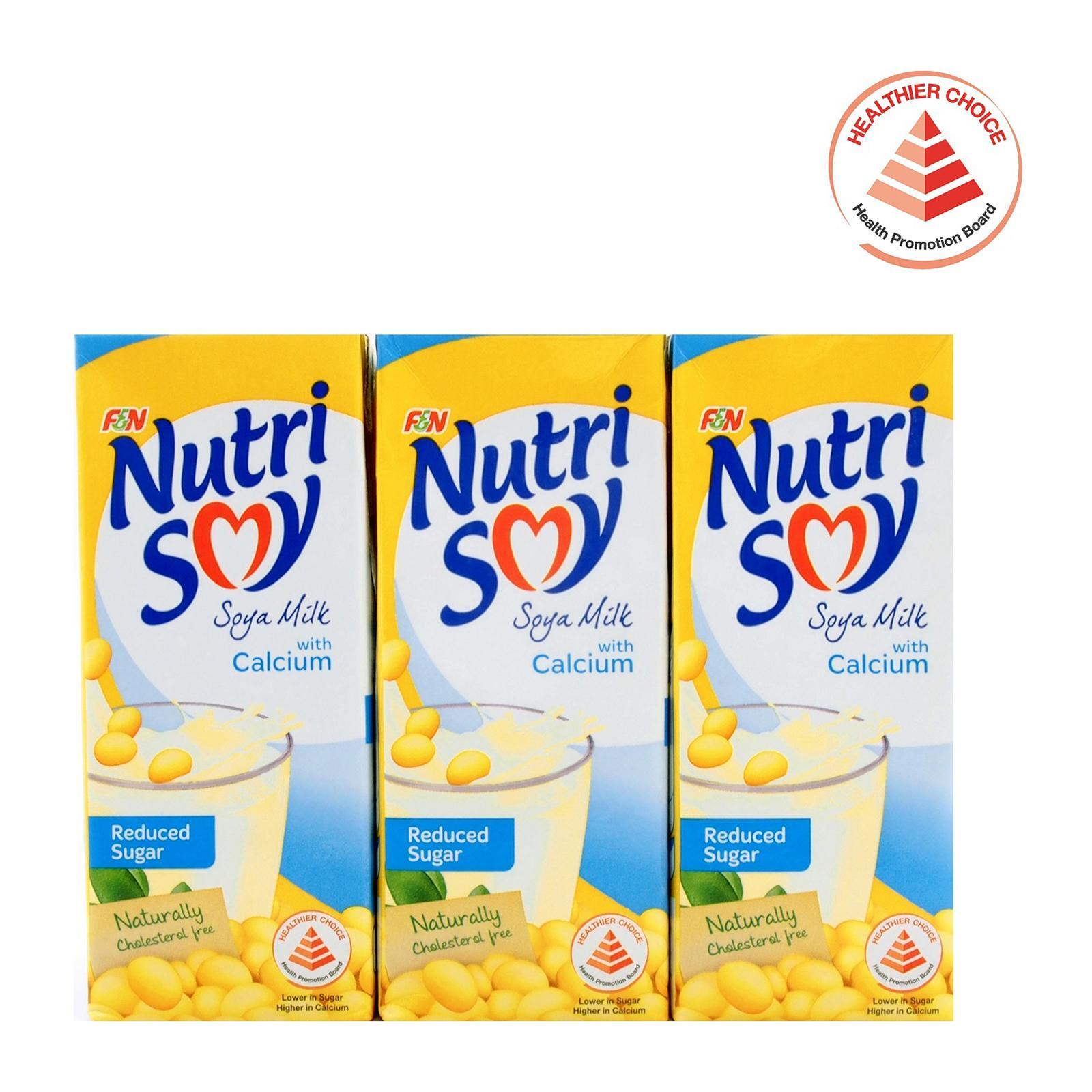 F&N NutriSoy Soya Milk With Calcium And Reduced Sugar Packet Drink