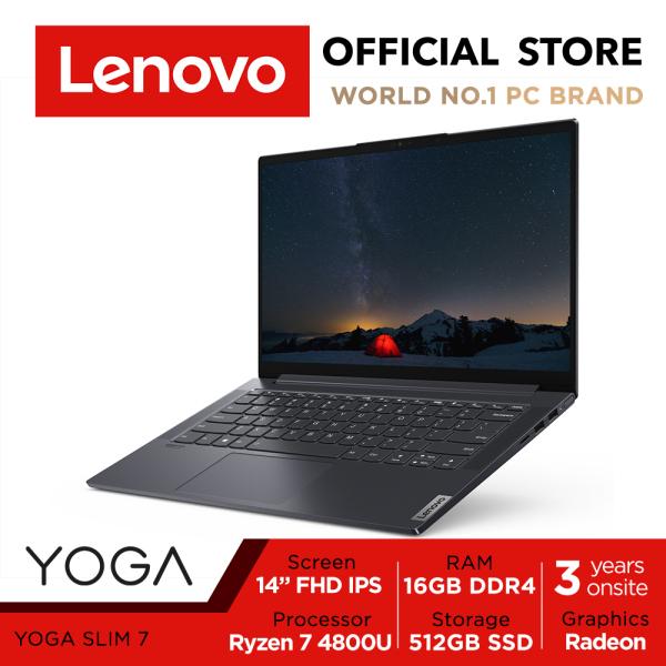 Lenovo Yoga Slim 7 82A2008TSB | Ryzen7 4800U(8 cores,16 threads, max 4.2Ghz) | 14inch FHD 300nits 100%sRGB | 16GB DDR4X-4266 | 512GB SSD NVMe 3.0x4 | WIFI6 AX | AMD Radeon Graphics | 60.7Wh Battery | 3Yrs Lenovo Onsite Warranty