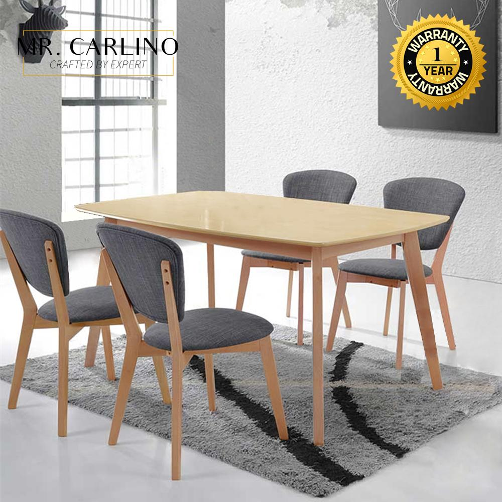 MIRZA [120 x 60 cm] Rubber Solid Wood Dining Table Set With 4 Chairs