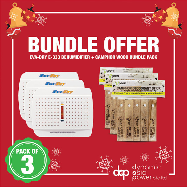 [3 PIECES SPECIAL BUNDLE] EVA DRY Mini Dehumidifier E333 + Camphor Wood Bundle Singapore