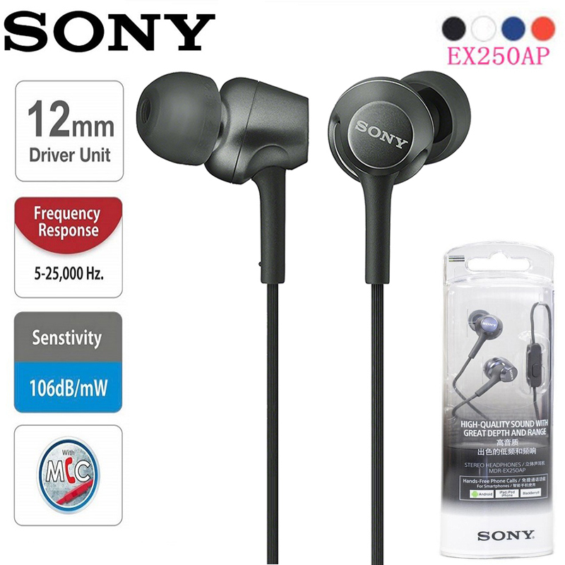 Original SONY MDR-EX250AP In-Ear Headphones 3.5mm Wired Earbuds Music Earphone Smart Phone Headset Hands-free with Mic Singapore