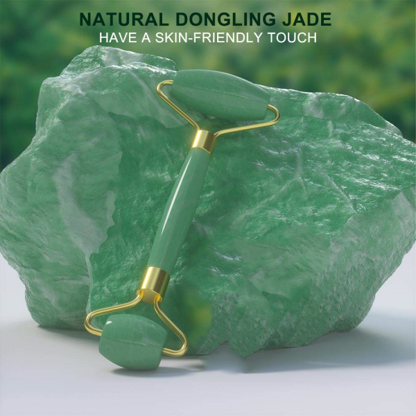 Buy [Local Ready stock]100% Real Natural Dongling Jade Facial Roller Anti Aging Face Roller Massager Green Singapore