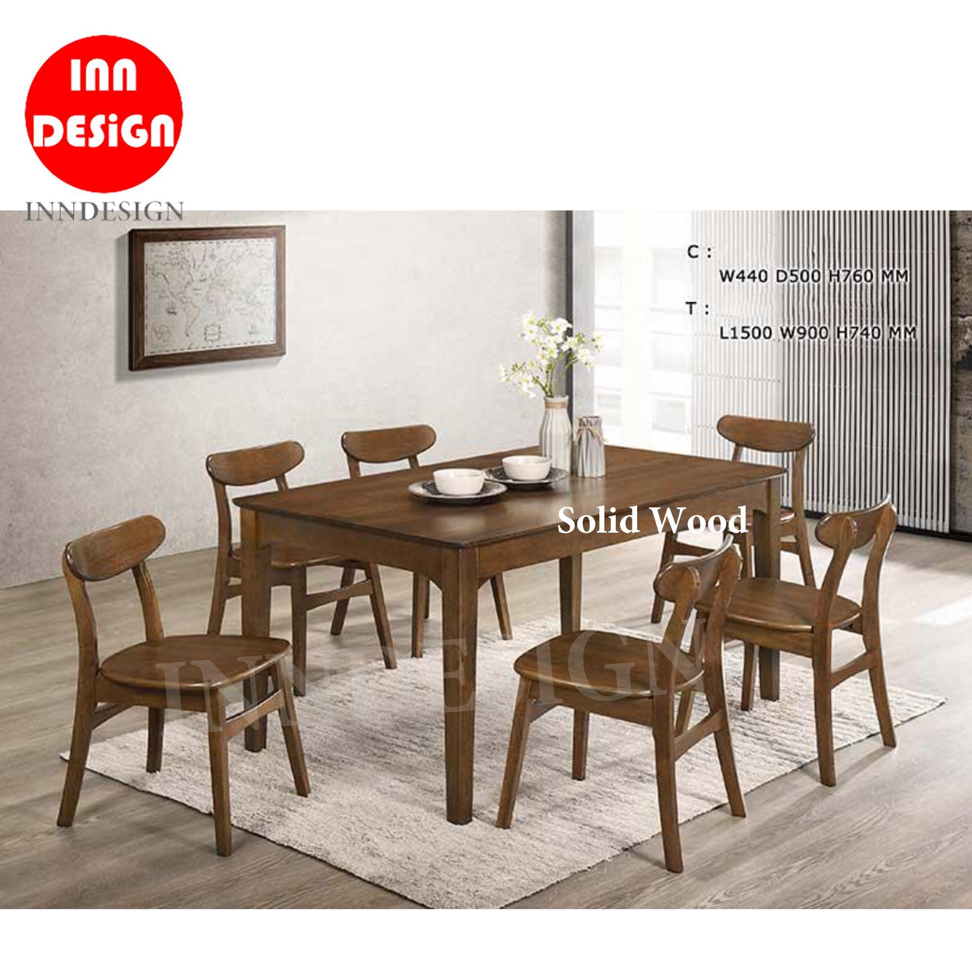 Hamis 1+6 Dining Set (100% Solid Wood) (Free Installation)