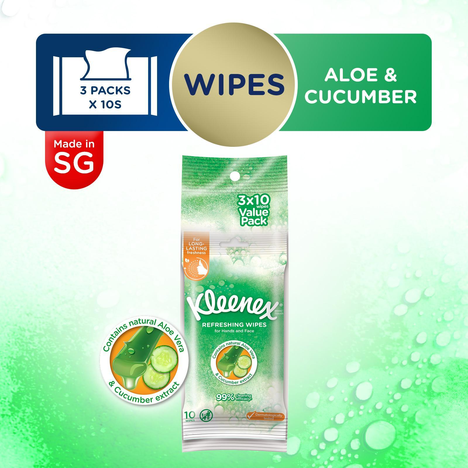 Kleenex Refreshing Hand And Face Moist Wipes 3X10S