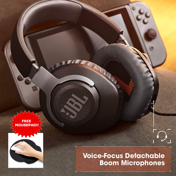 JBL Quantum 100 Wired Over-Ear Gaming Headphone with Detachable Mic - Premium headphones earphones earphone ear head phone phones headset - Local SG Seller, Fast Delivery! Singapore