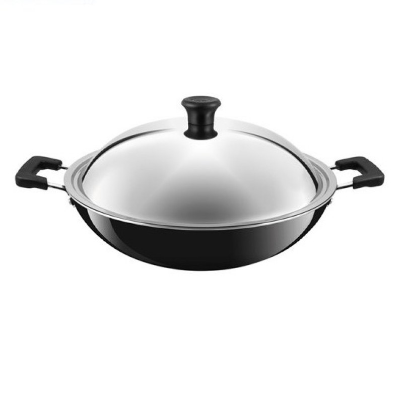 Tefal Cookware Asian Chinese Wok 36cm with Lid C52896 Singapore