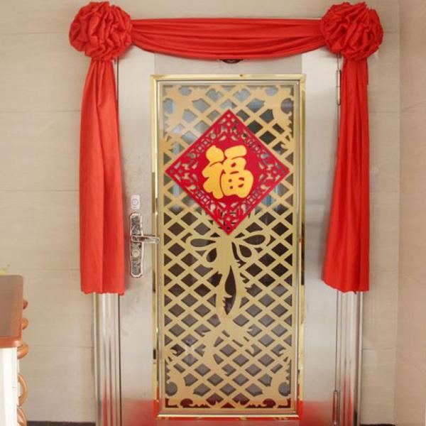 CNY Satin Red Flower Ball Gate Red Flowers Decorations - 2 Flower Balls