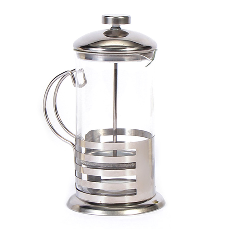 Manual Coffee Espresso Maker Pot French Coffee Tea Percolator Filter Stainless Steel Glass Teapot Cafetiere Press Plunger 350Ml