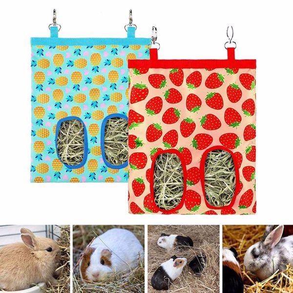 TEA7146 Bunny Chinchilla Guinea Đối Với Động Vật Nhỏ Thỏ Hay Trung Chuyển Túi Cỏ Khô Máy Phân Phối Cho Ăn Túi Đựng Thức Ăn Người Giữ Bao