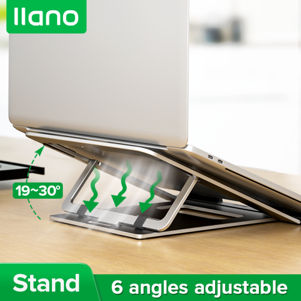 llano Silver Portable Aluminum Alloy Folding Six-gear Lifting Laptop Stand for Laptops, Tablets and Phones