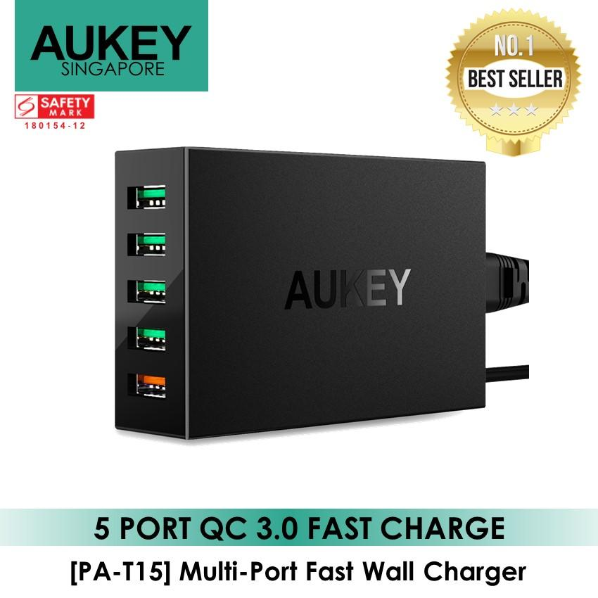 AUKEY Quick Charge 3.0 5-Port USB Charger with 55.5W USB Charging Station,