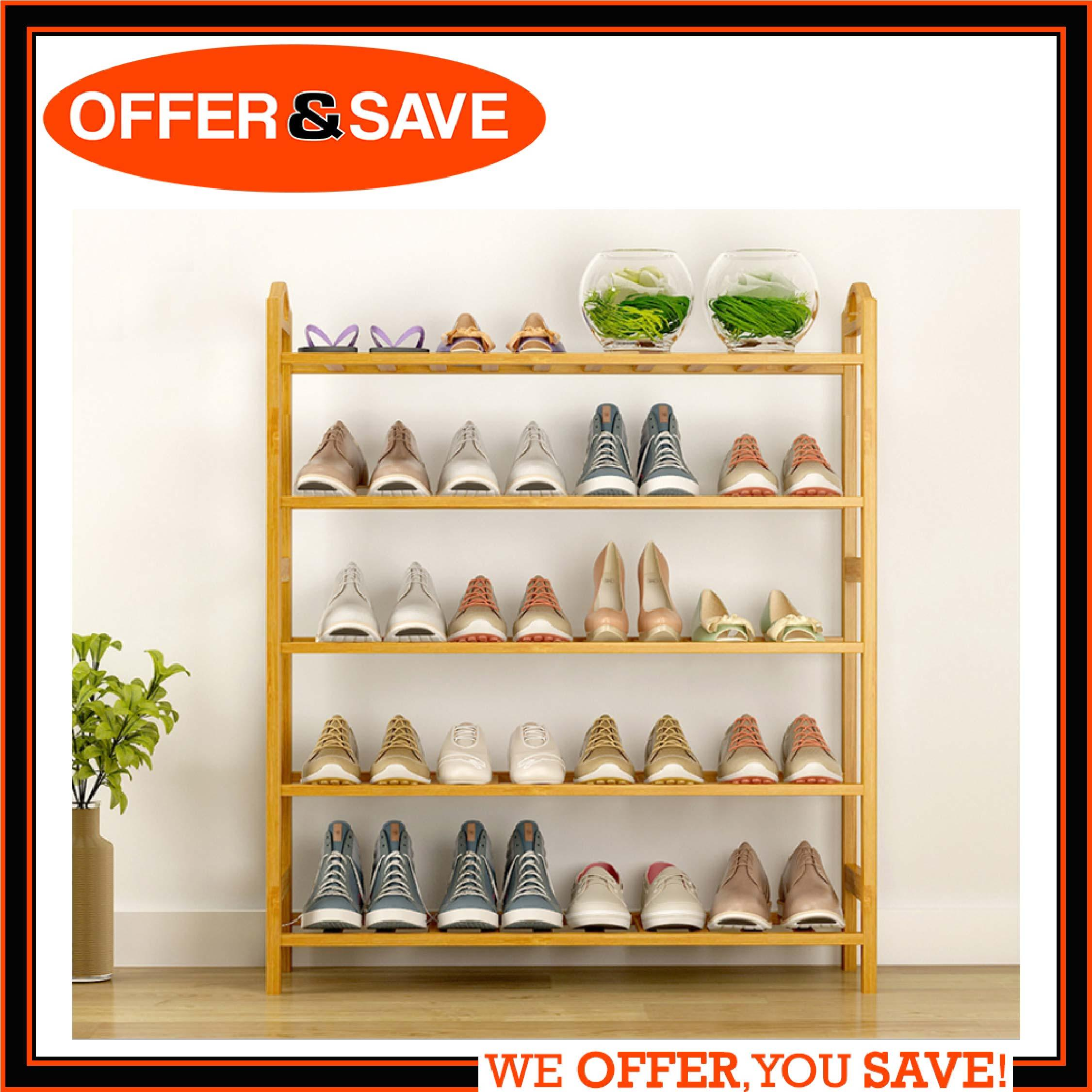 ONS 5 Tiers Natural Bamboo Shoe Rack - Durable Wooden Shoe Organizer/Space Saving/Environmentally Friendly/Utility Storage Shelf for Home
