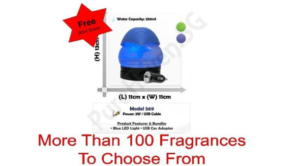 [BNIB] FOC 30ml Scent Liquid! Model 569 Mini Water Air Purifier 250ml. With Blue LED Lights Singapore