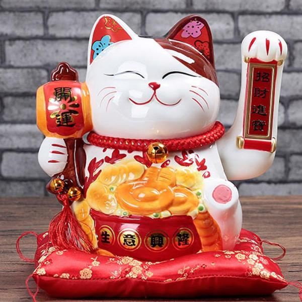 Lucky Cat Ornaments Automatic Wave Opened Ceramic Large Electric Waving fa cai mao Home Living Room Practical Gifts