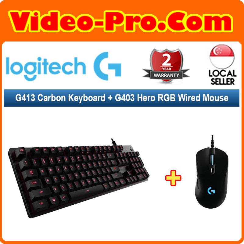 [Valentine 2-in-1 Bundle] Logitech G413 Carbon Keyboard (920-008313) Bundle With G403 Hero RGB Wired Gaming Mouse 910-005634 Singapore