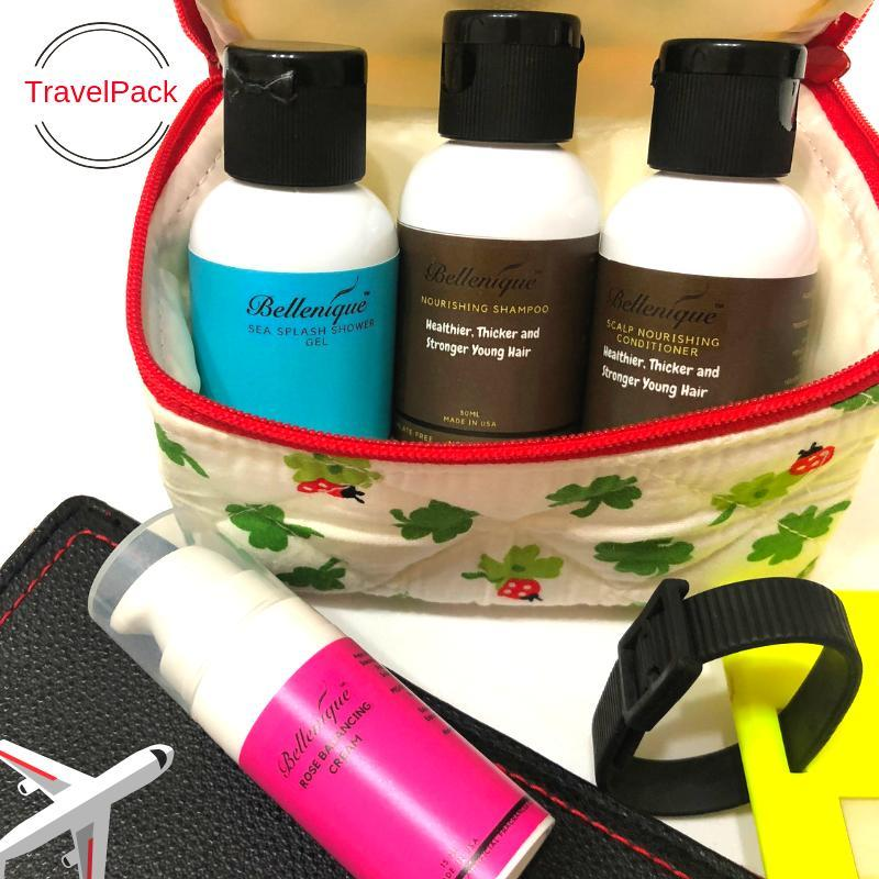 Buy Bellenique Nourishing Hair and Body Travel Set, convenience for those who always on the go. Nourishing shampoo & conditioner for your haircare, Sea Splash body wash and Rose ReNewal Cream for your complete body care. Beaute - Travel Set Singapore