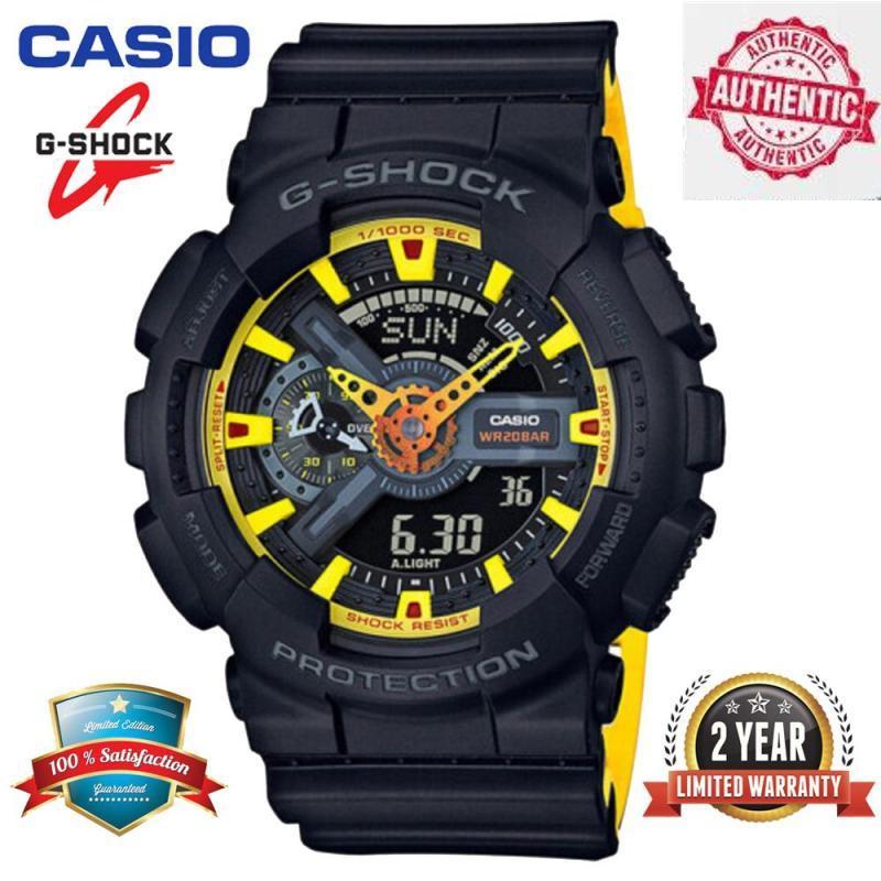 Original G Shock GA-110BY-1A Men Sport Digital Watch 200M Waterproof and Shockproof World Time LED Auto Light Wrist Sports Watch with 2 Year Warranty GA110/GA-110 Black Yellow Malaysia