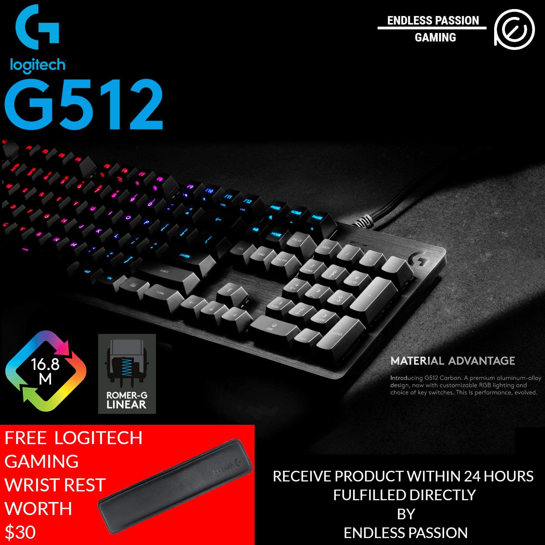 Logitech G512 Carbon RGB Mechanical Gaming Keyboard (FREE WRIST REST) Singapore