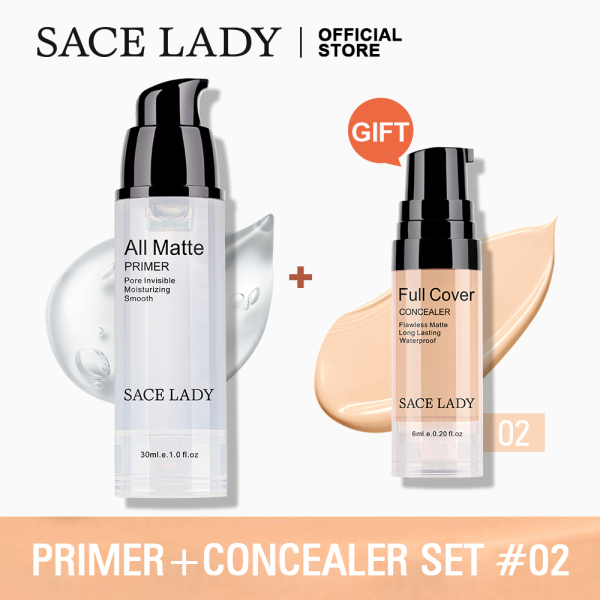 Buy Buy 1 Get 1 Gift SACE LADY Primer + Concealer Makeup Set Matte Full Cover Make Up Poreless Oil Control Cosmetic Singapore