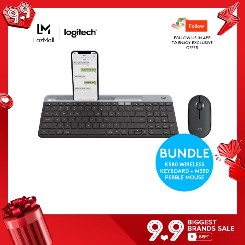 Logitech K580 Slim Wireless Multi-Device Keyboard + Logitech Pebble M350 Wireless Mouse with Bluetooth or USB Singapore