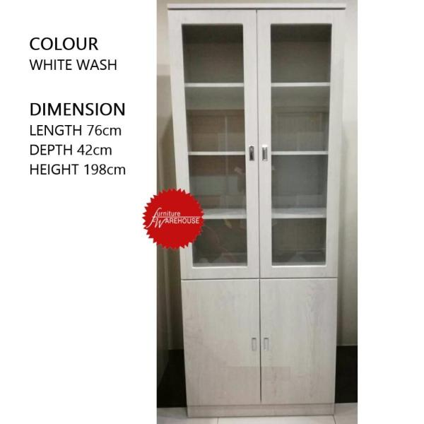 EDDY 2 DOOR BOOKCASE (WHITE WASH COLOUR)