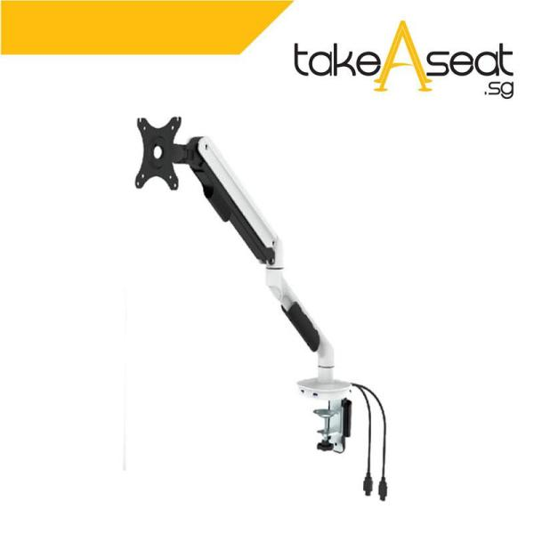 Type B Single Monitor Arm With Dual USB Ports ★ Fits Monitor Screen From 17 Inch To 30 Inch  ★ Max Weight 9 KG ★ VESA Mount ★ Height Adjustable ★ Clamp/Grommet Mount To Desk ★ Local Seller ★ Ready Stock