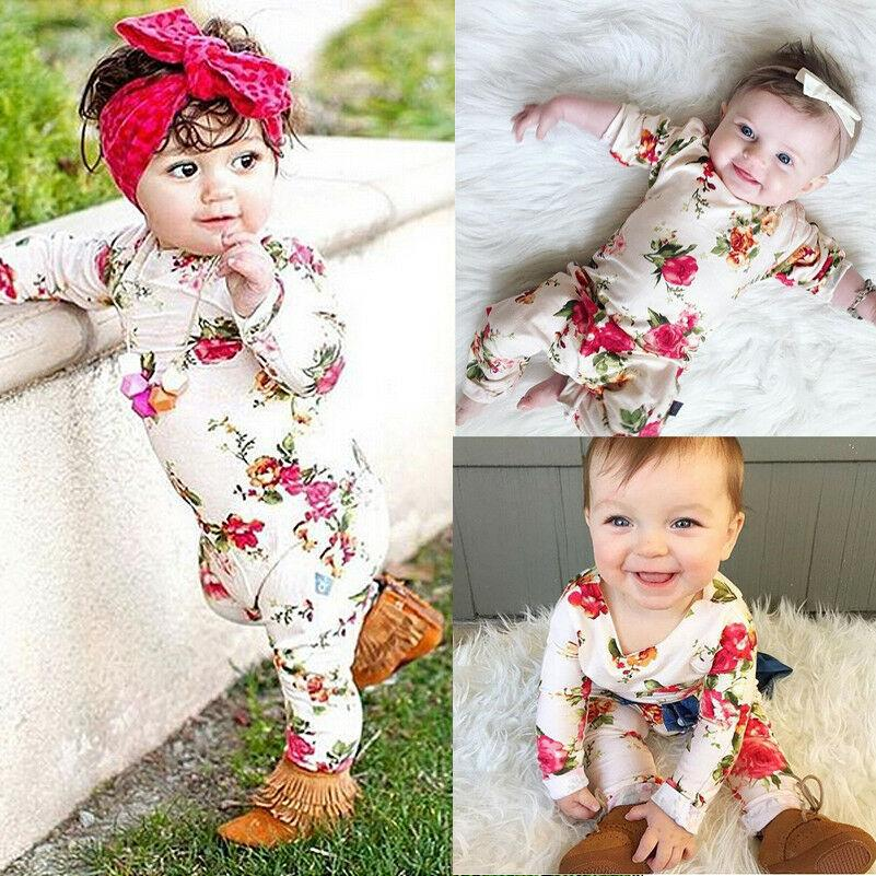 97aa741c3153d Infant Baby Girl Kid Floral Long Sleeve Bodysuit Romper Jumpsuit Outfits  Clothes