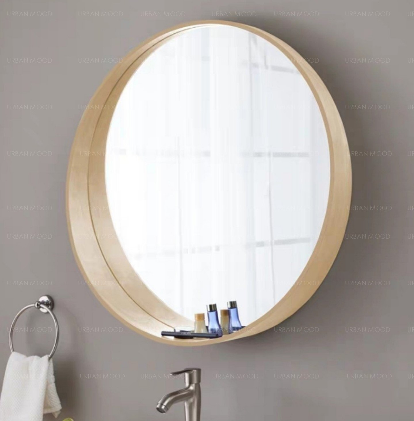 HARLET Solid Wood Round Wall Mirror