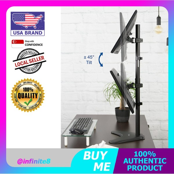 VIVO USA Dual Monitor Desk Stand Free-standing LCD mount, Holds in Vertical Position 2 Screens up to 30 arm