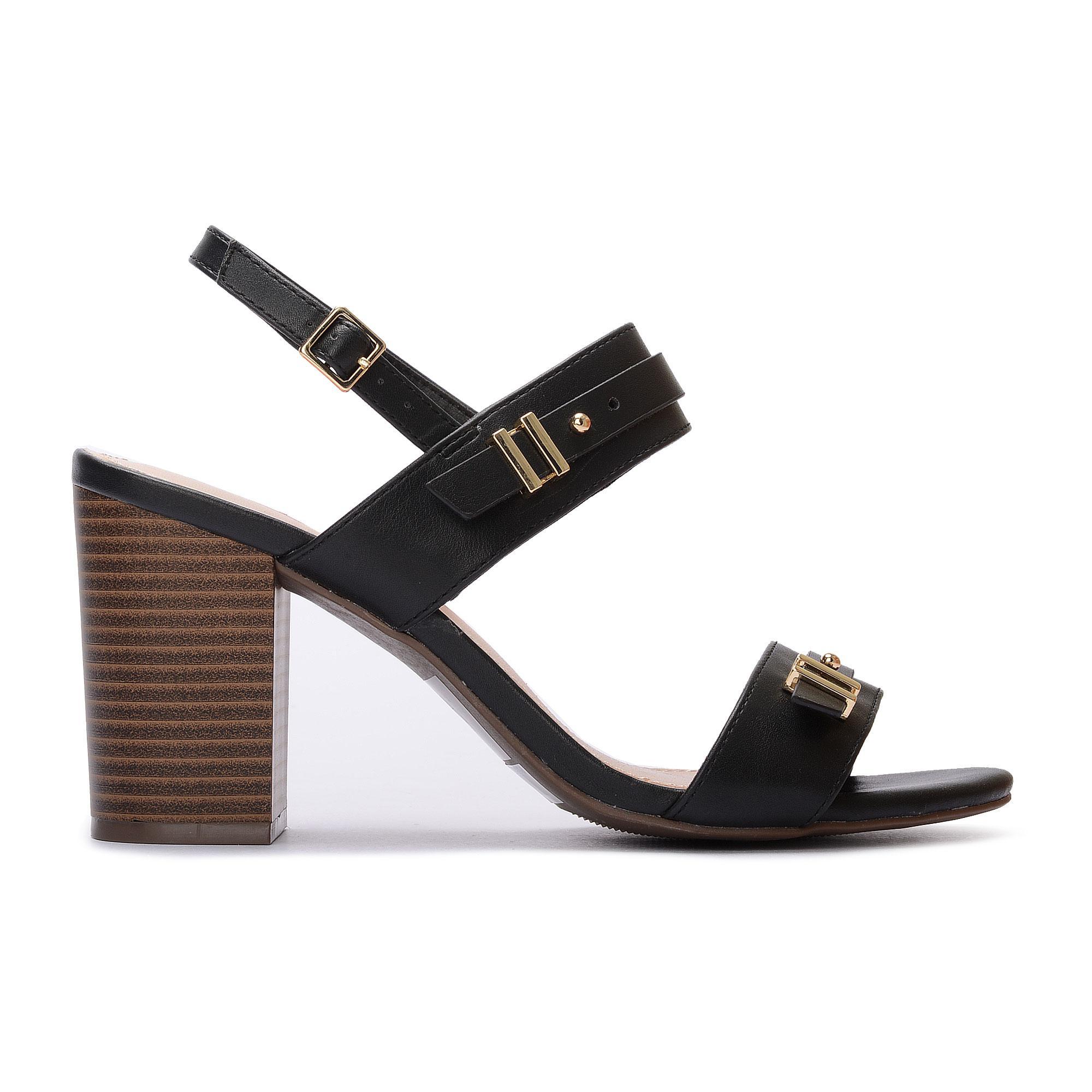 Bata Red Label Ladies Basic Black Buckle Block Heels 7506551.