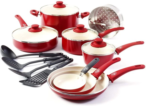 GreenLife Soft Grip 16 Piece Ceramic Non-Stick Kitchenware Cookware Kitchen Pot Frying Pan Saucepan Set, Blue. Red. Black Singapore